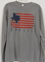 Shirt Us Flag W/ Texas L/S Grey
